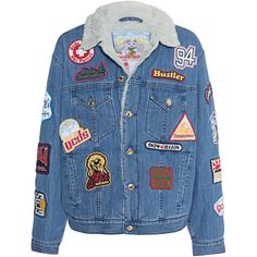 GCDS Patches Denim // Denim jacket with patches (€319) ❤ liked on Polyvore featuring outerwear, jackets, colorful denim jackets, patched denim jacket, lapel jacket, multi colored jacket and blue denim jacket