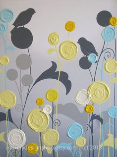 Wall Art Textured Yellow Grey and Aqua Flower ... | A Fresh New Place ...