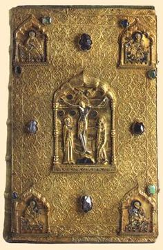 The Gospel, Russia, Novgorod, the ХVIth century. Silver, precious stones, glass, paper; filigree, enamels, casting, carving, chasing, gilding. Height: 36,5 cm, width: 23 cm