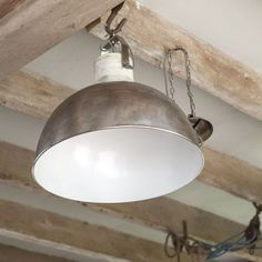 Marlowe Dome Pendant  - Nickel || Industrial lighting is the perfect way to bring your home bang up to date. This large dome nickel pendant is also traditionally handmade to bring a artisanal texture to your space. Hang over a dining or kitchen table for a stylish and modern eating area.