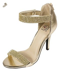 Lustacious Women's Open Toe Slim High Heel Diamond Encrusted Ankle and Toe Strap Stud Pumps, light gold metallic leatherette, 7 M US - Delicious pumps for women (*Amazon Partner-Link)