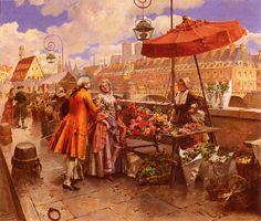 The Flower Seller Along The Sein by Henri Victor Lesur (1863-1900)