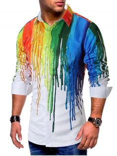 Painting Splatter Print Long Sleeves Casual Shirt Colorful Painting Splatter Print Long Sleeves Casual Shirt - WHITE - M Cheap Flannel Shirts, Cheap Long Sleeve Shirts, Cool Shirts For Men, Cheap Shirts, Casual Shirts, Men's Shirts, Collar Pattern, Colorful Paintings, Types Of Shirts