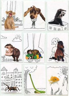 printable animal cards so kids can draw surroundings, play with scale