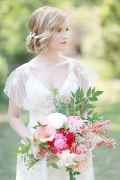 Pink White and Green Wildflower Bridal Bouquet