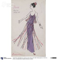 Evening dress by Jeanne Lanvin, fall-winter collection 1967/1968, drawing by Trude Rein.   Courtesy Kunstbibliothek, Staatliche Museen zu Berlin, CC-BY-NC-SA.