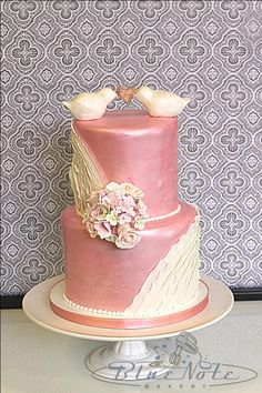 Shimmer Pink with Lovebirds and Ruffles | Blue Note Bakery - Austin, Texas
