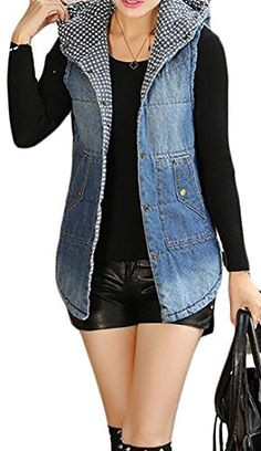 9484af0bb4cace Fulok Women s Autumn Cotton Warm Slim Hooded Washed Jacket Denim Vest Blue  Large