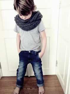 scarf, distressed denim