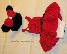 Baby Girl - Minnie MOUSE Inspired - Newborn Photo Prop - Hat and Dress with attached Diaper Cover on Etsy, $57.95
