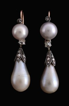 a198ebc3428c A pair of Victorian natural pearl and diamond earrings
