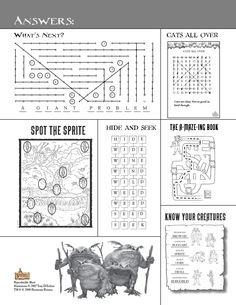 Spiderwick - Answer Key (What's Next? Cats All Over, Know Your Creatures, Spot the Sprite, Hide and Seek, The A-Maze-Ing Book)