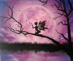 Moonlight Fairy Canvas Print / Canvas Art by Ira Florou Simple Acrylic Paintings, Acrylic Art, Fairy Paintings, Fairy Silhouette, Spray Paint Art, Beginner Painting, Pastel Art, Fairy Art, Painting & Drawing