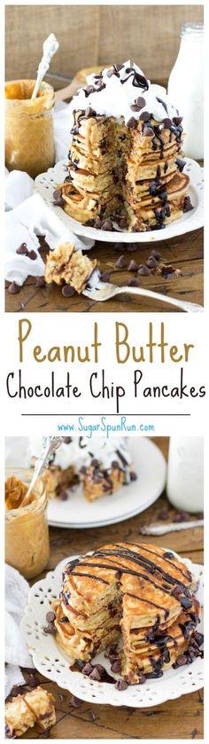 Peanut butter chocolate chip pancakes -- http://SugarSpunRun.com