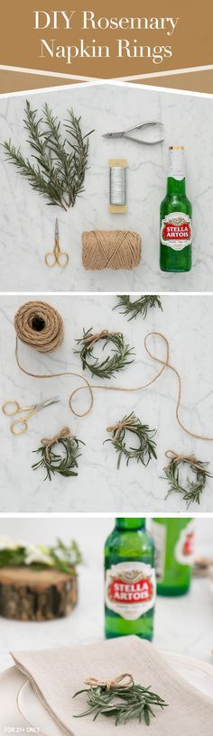 Bring a fresh look and herbal scent to your holiday place settings. Tie fresh rosemary together with twine or butcher's string to create simple, rustic napkin holders your guests will love. folding ideas with twine Decoration Christmas, Noel Christmas, All Things Christmas, Winter Christmas, Xmas, Rustic Napkin Holders, Rustic Napkins, Holiday Crafts, Holiday Fun