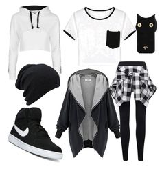 """""""Black winter"""" by black5pink ❤ liked on Polyvore featuring WithChic, Topshop, NIKE and Valfré"""