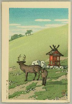 Kawase Hasui: Deer and Shrine