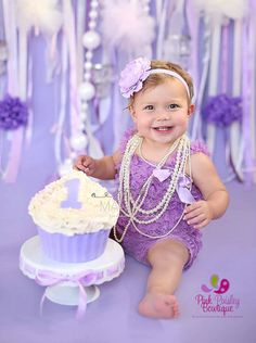 Lavendar petti lace romper and headband 2 pc SET, Baby girl 1st birthday outfit…