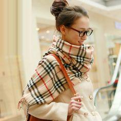 Stylish Plaid Linen Scarves With Tassels Unisex | martofchina.com