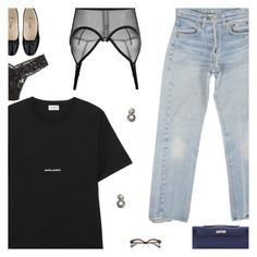 """""""Tuesday"""" by amberelb ❤ liked on Polyvore featuring Hermès, Levi's, Yves Saint Laurent, A.P.C. and Hanky Panky"""