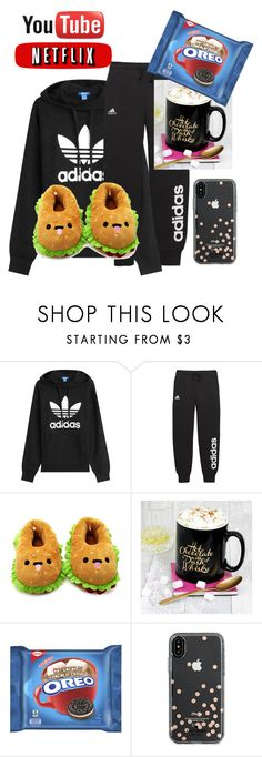 """Lazy Saturday"" by princessqtpi ❤ liked on Polyvore featuring adidas Originals, adidas, Forever 21 and Kate Spade"