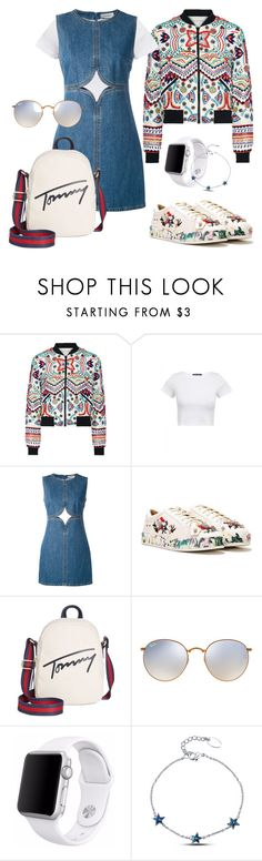 """""""Outfit #22"""" by filosofy ❤ liked on Polyvore featuring Alice + Olivia, Courrèges, Nasty Gal, Tommy Hilfiger, Ray-Ban, Apple, simple, denim and redwhiteandblue"""