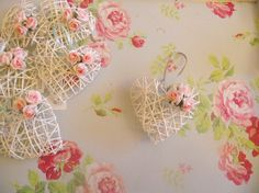 Romantic white wicker heart and pink rose by RGrayscreations, £3.00