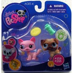 Amazon.com: Littlest Pet Shop > Kitten (#1312) And Pug (#1313) With Accessories Action Figure: Toys & Games