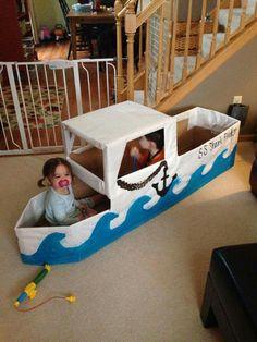 Barco de papelão... Ocean Crafts, Vbs Crafts, Camping Crafts, Cardboard Castle, Cardboard Crafts, Projects For Kids, Diy For Kids, Crafts For Kids, Happy Birthday Hand Lettering