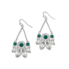 """Pierced drops, 2"""" L. Silvertone.Elegant Royale Collection: This gorgeous hand-finished collection is inspired by botanical gradens for a look that is fresh, elegant and all around striking."""
