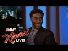 """Chadwick shares a couple events that eerily prophesied his eventual casting as The Black Panther. Deleted Scene from """"Batman v Superman"""" Starring Jimmy Kimme. Black Panther Comic Books, Black Panther 1, Marvel Avengers Movies, Ludacris, Jimmy Kimmel Live, Captain America Civil War, Press Tour, Denzel Washington, Dc Heroes"""