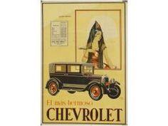 1927. CARTEL: YUSTE: CHEVROLET, EL MAS HERMOSO. Cartel 70 x 100 cm. Litografia B-. Restaurado...