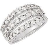 3 row shared prong band 14kt white gold