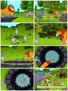 """The Lion and The Rabbit Story: Morals: """"Wisdom is stronger than physical strength"""". English Moral Stories, Short Moral Stories, English Stories For Kids, English Story, Kids English, Picture Story Writing, Picture Story For Kids, Small Stories For Kids, Moral Stories For Kids"""