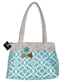Large Purse  The Elayne in Blue Lattice Print by RACAccessories, $45.00