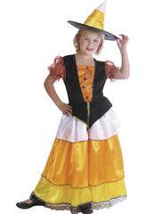 Disfraz bruja calabaza niña