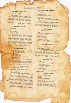 The Happy List: Vintage Recipes, Charleston Paintings, and more! - PiesThe Happy List: Vintage Recipes, Charleston Paintings, and more! Retro Recipes, Old Recipes, Vintage Recipes, Cookbook Recipes, Baking Recipes, Recipies, Healthy Recipes, 13 Desserts, Dessert Recipes