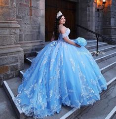 Informal showroom offering formal gowns for special events, including proms & quinceañeras. Book your appointment to say YES to your dream dress! 714 774 7537 845 N. Cinderella Quinceanera Dress, Light Blue Quinceanera Dresses, Mexican Quinceanera Dresses, Cinderella Dresses, Quincenera Dresses Blue, Cinderella Theme, Xv Dresses, Quince Dresses, Ball Dresses