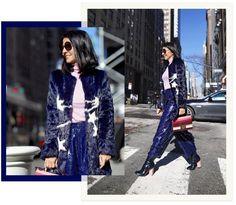 Look de inverno da Alice Ferraz: casaco de pelo azul com estrelas, calça azul marinho de paetê e ankle boots