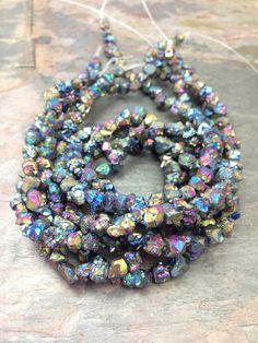 Peacock Titanium Druzy Nugget Gemstone Beads by BelleWestGems