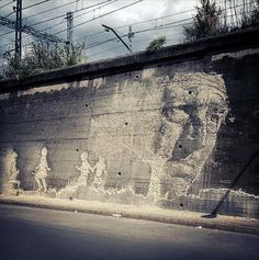Creating incredible imagery from old, dusted, and dilapidated walls by chipping away at the surface, Alexandre Farto, aka& has literally carved out his own medium. The artist recently completed this new piece in two days somewhere in Northern Spain. Trip Hop, Street Art News, Street Artists, Banksy, Reverse Graffiti, Land Art, Public Art, Urban Art, Les Oeuvres