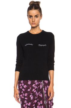 Band of Outsiders|Eyelash Embroidery Merino Wool Sweater in Black [1]