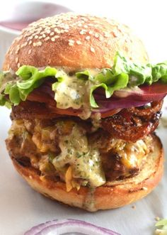 "DOUBLE BEEF BURGER with BEER & JALAPENO CHEESE SAUCE, SPICY CANDIED BACON & ""CHIMICHURRI"" MAYONNAISE [theflavorbender]"