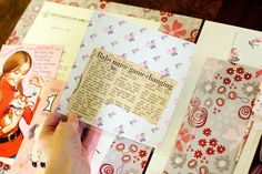 Guide to scrapbooking ephemera/memorabilia. many examples of notes on scrap paper, programs, newspaper articles, items you don't want to adhere, etc.