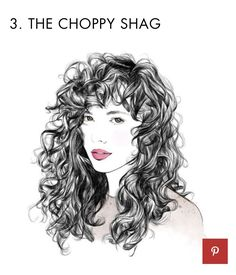 The Choppy Shag. 6 haircuts for curls: Trends and tips for every curl type - CosmopolitanUK Layered Curls, Layered Curly Hair, Curly Hair With Bangs, Haircuts For Curly Hair, Curly Hair Cuts, Girl Haircuts, Short Curly Hair, Curly Hair Styles, Natural Hair Styles