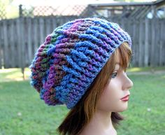 The Pinnacle Cabled Slouchy Beanie  in Prism Colors by Threadmill, $29.00