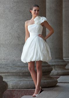 White short dress for rehearsal dinner or beach by EdelweissBride, $390.00