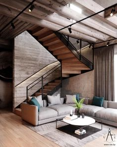 This city house in Minsk, Belarus, is of modern loft style. Designed by VAE, the interior is decked out with metal and concrete industrial features, softe Futuristisches Design, Loft Design, Stair Design, Modern Interior Design, Interior Architecture, Amazing Architecture, Vintage Loft, Loft Stil, Casa Loft