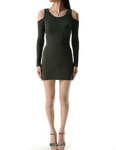 (WP01940-KHAKI) Womens Crew Neck Open Shoulder Long Sleeve Mini Dress