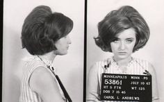 """That's one heck of a fabulous mugshot- now that's my kind of client!  Ha!  Photo taken in 1967 and procured from a fun page entitled """"23 Vintage Bad Girl Mugshots."""""""